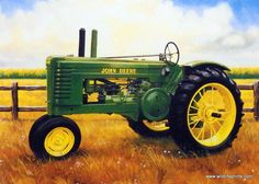 "In this picture Charles Freitag captures the John Deere Tractor 1995 ready to go to work in a nearby corn field. Available for purchase in an open edition unframed image size of 6.75"" x 4.75""."