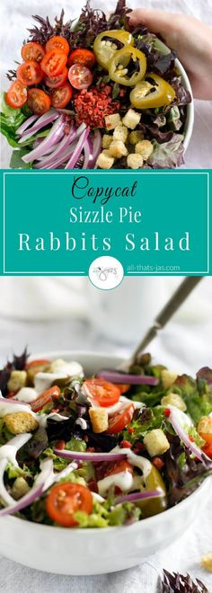 Insanely delicious hipster vegan restaurant-style salad is a popular copycat Sizzle Pie Rabbits salad made with simple ingredients: red leaf lettuce, red onions, cherry tomatoes, vegan bacon bits, croutons, and vegan ranch dressing in under 10 minutes.