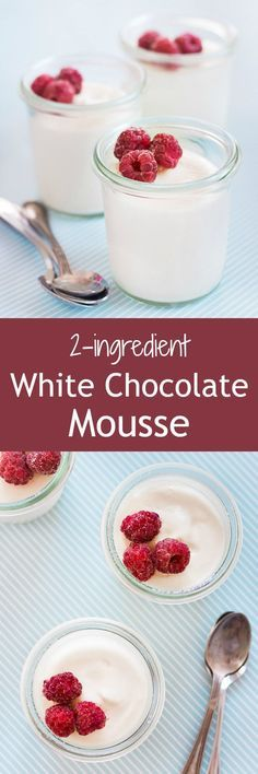 Creamy and light white chocolate mousse made easy with only 2 ingredients! | prettysimplesweet.com