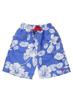 Blue Hawaiian Boarder Shorts by Mitty James Kids Beachwear