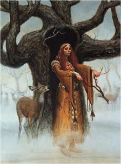 Sadb: Celtic Deer Goddess, associated with forests and creativity. Mother of Oisin, the poet.