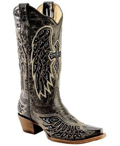Sparkly+Cowboy+Boots | Corral Rhinestone Embellished Cross & Wing Embroidered Cowgirl Boots ...