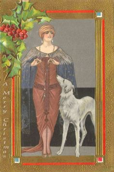 ❤ =^..^= ❤  Borzoi and flapper Christmas card.