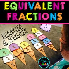 This Equivalent Fractions Match and Stack activity was created to assist my students in fractions and multiples. There are 5 ice cream cones (numbers and and they each have scoops that match the fraction represented on the cone. 3rd Grade Fractions, Teaching Fractions, Equivalent Fractions, Fourth Grade Math, Math Fractions, Teaching Math, Dividing Fractions, Fraction Activities, Math Resources
