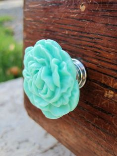 Peony Flower Drawer knob in Minty Turquoise more COLORS by DaRosa, $5.50