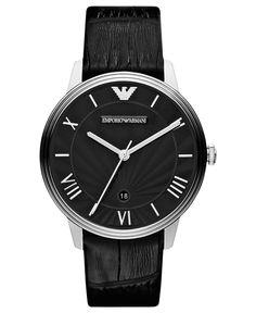 Emporio Armani Watch, Men's Black Croco Leather Strap 41mm AR1611