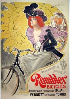 By Bernardi Saccaggi, c. 1898,  Rambler Bicycles,Early globalization and a very rare poster; what a combination. An American bicycle (Rambler) made by a Chicago company (Gormully & Jeffery Mfg. Co.) here is advertised for sale in Italy.