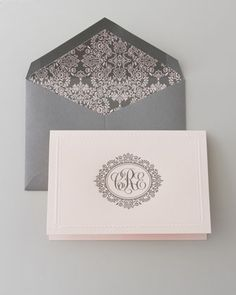beautiful note cards with engraved monogram. blush and gray. a lovely wedding gift.