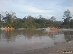 Two boats of the adventurers' in search for the very rare Borneo Pygmy Elephants :)
