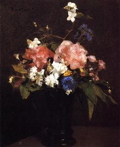 Flowers - Artist: Henri Fantin-Latour Completion Date: 1862 Style: Realism Genre: flower painting Technique: oil Material: canvas Gallery: Private Collection
