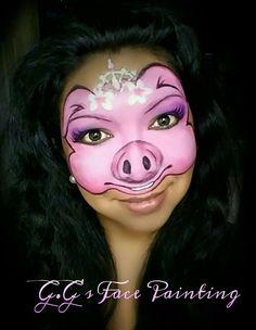 Pig Face Paint, Face Paint Makeup, Animal Face Paintings, Animal Faces, Pig Costumes, Animal Design, Face And Body, Halloween Makeup, Farm Animals