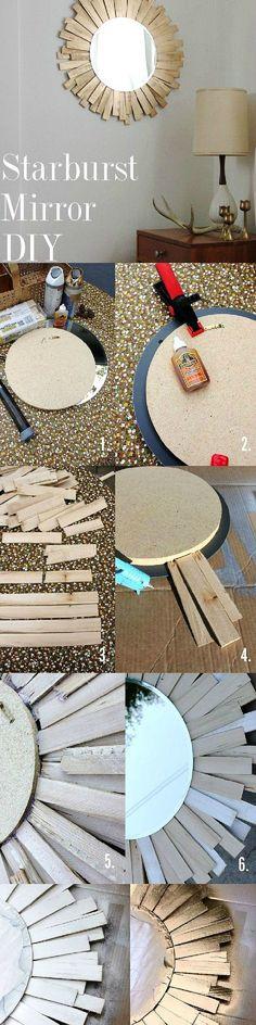 DIY starburst mirror diy decorating ideas crafts instructions diy decor for the home home ideas craft decor craft mirror mirrors by Jennifer Evanich Buckridge Decor Crafts, Diy Home Decor, Diy And Crafts, Diy Projects To Try, Craft Projects, Diy Deco Rangement, Diy Wanddekorationen, Fun Diy, Starburst Mirror