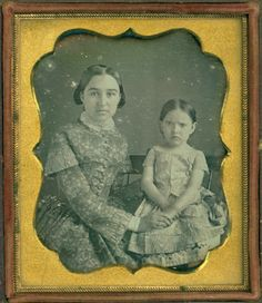 Mary Anne Newton (14 years old) and younger sister Ella, daughters of  Milo Newton and Sarah Lothridge Newton. 1850. Daguerreotype.
