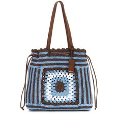 Miu Miu - Raffia tote - Miu Miu transforms a causal raffia tote into a show-stopping must-have. In rich brown and blue, this woven style channels a relaxed summer vibe - whatever the weather. Take it shopping or to the beach, styling it next to basic jersey and denim. seen @ www.mytheresa.com