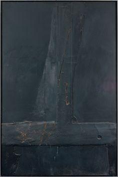 Antoni Tapies, Composition noire, T renversé - 1961 on ArtStack #antoni-tapies #art