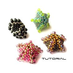 Beaded Bead Tutorial, Five Pointed Beads, Beadweaving Instructions, Beading Pattern: ROCK STAR