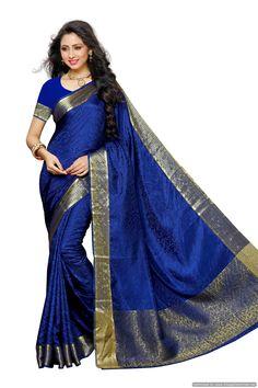 Women\'s Tusser Silk Saree Kanjivaram Style Color :navy Blue