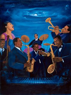 Deep Blues by Kolongi. James Jamerson, Bille Holiday, Charlie Parker, Max Roach, Miles Davis, Dizzie Gillespie, John Coltrane.
