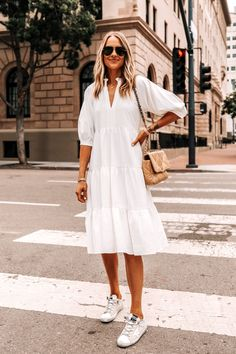 White Fashion, Pop Fashion, Fashion Outfits, White Midi Dress, White Dress Summer, Summer Outfits, Summer Dresses, Cute Outfits, Fashion Jackson