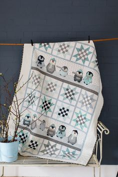 The More it Snows - this adorable penguin quilt has come straight from snowy Norway and was published in Australian Homespun magazine's October 2013 issue. (Designed by Wenche Wolff Hatling)