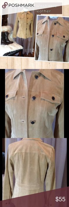 WASHABLE LEATHER BLAZER Beautiful soft tan leather with bronze buttons for accents. Really sharp looking! Fully lined. Worn once. Perfect condition! Jackets & Coats Blazers