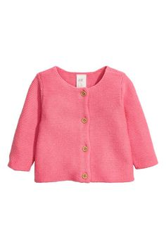 Cotton cardigan: Garter-stitched cardigan in a soft cotton knit with a round neck and buttons down the front.