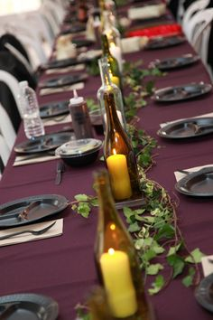12 Cut Wine Bottle Centerpiece Lanterns for by FromAnnaMae on Etsy, $40.00