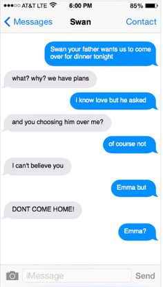 Hahaha poor poor Hook (this is just part one) -Captain Swan- once upon a time- Emma Swan- Killian Jones- once upon a time fake texts-