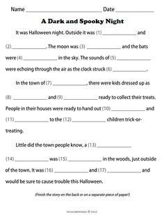 Celebrate Halloween all week! {FREE} Fill-in-a-Story Writing Template for Halloween!
