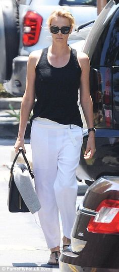 Charlize Theron highlights her long legs in Santa Monica for work meeting | Daily Mail Online