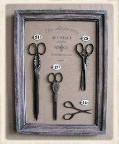 cadre évolutif des objets dans le temps For grandmas scissors? Vintage Scissors, Sewing Scissors, Vintage Sewing Notions, Antique Sewing Machines, Diy Vintage, Vintage Salon Decor, Barber Shop Decor, Sewing Baskets, Sewing Tools