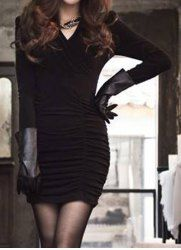 Simple Style Long Sleeve V-Neck Bodycon Solid Color Women's Dress