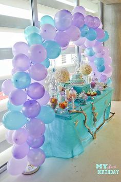Party table cloth ideas balloons 65 Ideas for 2019 Mermaid Theme Birthday, Little Mermaid Birthday, Little Mermaid Parties, Girl Birthday, Birthday Ideas, Paris Birthday, 11th Birthday, First Birthday Parties, Birthday Party Decorations