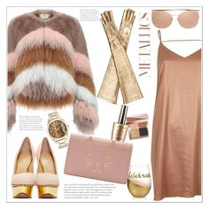 """""""Metallics"""" by queenvirgo ❤ liked on Polyvore featuring Urbancode, Bobbi Brown Cosmetics, Charlotte Olympia, River Island, Linda Farrow, Nine West and Gucci"""