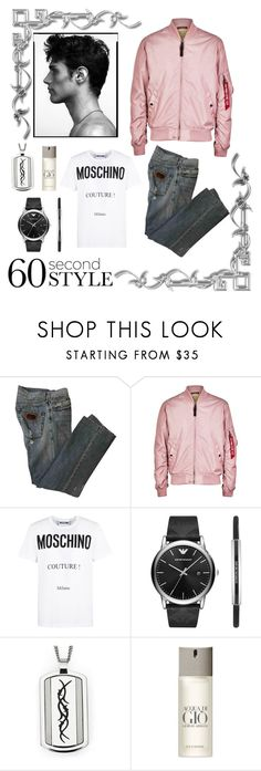"""60 Sec"" by styleandexperienceco ❤ liked on Polyvore featuring Dolce&Gabbana, Alpha Industries, Moschino, Emporio Armani, Giorgio Armani, men's fashion, menswear, StreetStyle, stylish and fashionset"