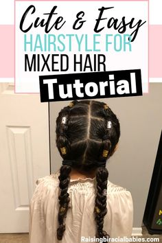 Mixed Girl Hairstyles: A Cute, Easy Style For Biracial Curly Hair (Tutorial) Looking for mixed girl hairstyles? This cute and easy style for biracial curly hair can easily be turned into several diffe Mixed Kids Hairstyles, Kids Curly Hairstyles, Baby Girl Hairstyles, Elegant Hairstyles, Short Haircuts, Protective Hairstyles, Curly Hair Styles, Curly Hair Tips, Natural Hair Styles