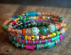 Turquoise, Agate, Shell and African Beaded Leather Charm Bangle Set via Etsy