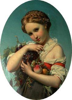 Joseph Henri François van Lerius (1823-1876)  —  Girl Holding Fruit