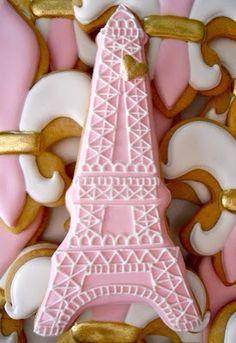 Paris, je t'aime / Eiffel Tower and Fleur de Lys Cookies - Oh Sugar Event Planning