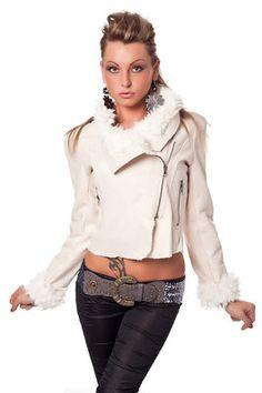 Damen Lederimitat Jacke in verschiedenen Farben Bauchfreie Optik