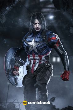 Bucky as Captain America with Winter Soldier Mask What Sebastian Stan Could Look… - Visit to grab an amazing super hero shirt now on sal Marvel Dc Comics, Marvel Vs, Marvel Heroes, Captain Marvel, Marvel Characters, Marvel Movies, Mundo Superman, Fantasy Anime, Captain America And Bucky
