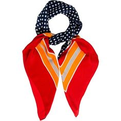 Pre-owned Yves Saint Laurent Multicolor Printed Scarf ($150) ❤ liked on Polyvore featuring accessories, scarves, red, red shawl, yves saint laurent, multi colored scarves, colorful shawl and print scarves