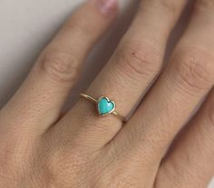 Gold Turquoise Ring Turquoise Heart ring Turquoise Solitaire