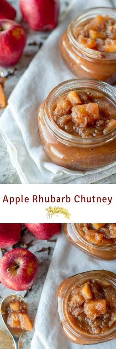 a spicy and tangy apple rhubarb chutney Rhubarb Recipes, Jam Recipes, Canning Recipes, Apple Recipes, Rhubarb Desserts, Jelly Recipes, Curry Recipes, Recipies, Rhubarb Chutney