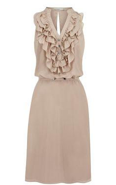 Karen Millen Silk Ruffle Dress Nude,fashion Karen Millen Solid Color Dresses outlet