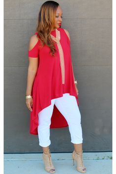 Discover this look wearing Red Trish M Fashions Tops - Carrie Top (Red) with Trish M by ladytrishm styled for Chic, Everyday in the Spring Mom Outfits, Chic Outfits, Fashion Outfits, Fashion Trends, African Print Fashion, African Fashion Dresses, Looks Plus Size, Elegant Outfit, Blouse Styles