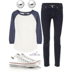"""Comfy Casual School Outfit"" if ever than was an outfit to describe me this is it! Except with black converse."