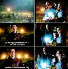 "#TheFlash 1x08 ""Flash vs. Arrow"" - Barry, Felicity and Diggle"