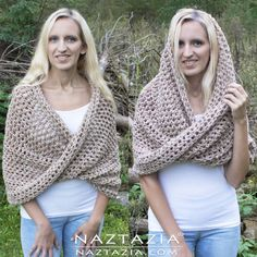 DIY Tutorial Free Pattern and YouTube Video Crochet Mobius Moebius Shawl Wrap and Hooded Cowl by Donna Wolfe from Naztazia #CrochetScarf