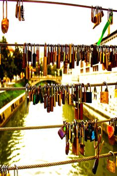 "Love Locks in Ljubljana Slovenia - the only country with ""love"" in its name."